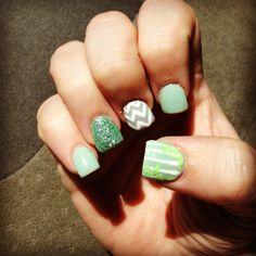 Mint and grey chevron nail design