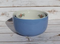 Hall China Nesting Bowls Rose Parade Cadet Blue Vintage Mixing Bowls by WhimsyChicEmporium on Etsy