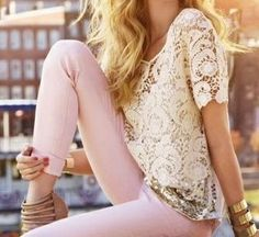 Pin Pastel Skinny Jeans, Gold, Heels, and White Lace Top. #summer