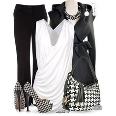 Black and White Houndstooth Contest, created by sophie-01 on Polyvore