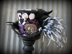 Alice's Mini Top Hat, Mad hatter Hat, Alice in Wonderland Mini Top Hat, Black  White Lock and Cog, Tea Party Hat, Mad Tea Party, Steampunk
