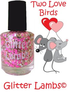Two Love Birds Pink And Gold Glitter Topper by GlitterLambsPolish