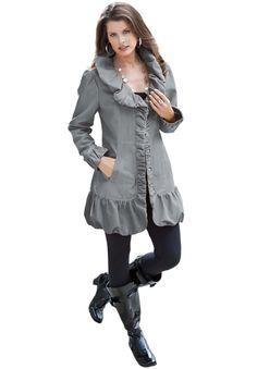 Ruffle Trench Jacket | Plus Size Coats and Jackets | Roamans