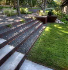 Corten steel + pea gravel steps