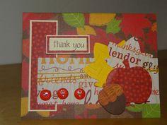 Handmade Fall inspired thank you greeting by TheBusyBeeCardBox