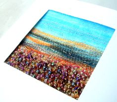 Autumn landscape  stitched beaded card  fabric art by StitchMikki, $6.00