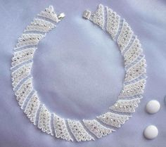 Scheme to the necklace Snow in silver | biser.info - all about beads and beaded work
