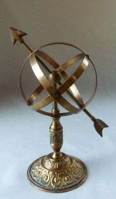 Vintage Brass Armillary Sphere Globe Retro Table by BeeHavenHome