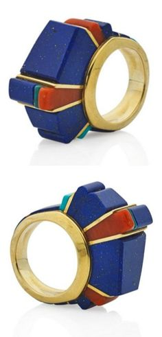 CHARLES LOLOMA, HOPI, HARDSTONE MOSAIC GOLD RING, Geometric stepped concentric inlay in 18k yellow gold includes lapis, coral, turquoise. Purchased from the artist, ca. 1990. Signed Loloma.
