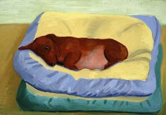 Dog Painting 1994 Oil on canvas x The David Hockney Foundation David Hockney, Dog Paintings, Dachshunds, Artist Painting, Pet Portraits, Contemporary, Modern, Vintage Art, Coloring Books