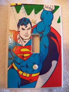 SUPERMAN - LIGHT SWITCH COVER - SINGLE TOGGLE SWITCHPLATE - NEW #HANDDECORATEDFROMLEVITONSWITCHPLATE