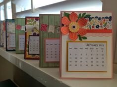 I've been busy making these calendars for my friends & family for the new year. Oh My Goodies, flowerpot designer series paper,White seam bi. Diy Calender, Calendar Notes, Calendar Ideas, Christmas Bazaar Ideas, Post It Note Holders, Calendar Design, Desk Calendars, Frame Crafts, Mothers Day Crafts