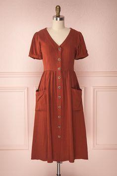 Kinu Terracotta Button-Up A-Line Dress Maxi Outfits, Modest Outfits, Casual Dresses, Fashion Dresses, Summer Dresses, Midi Dresses, Natasha Oakley, Seventies Fashion, 1940s Fashion