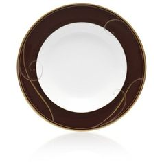Noritake Brown Golden Wave Chocolate Soup Bowl ($30) ❤ liked on Polyvore featuring home, kitchen & dining, dinnerware, brown, gold rimmed plates, brown soup bowls, wave dinnerware, square dinnerware and brown dinnerware