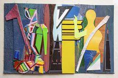 garza collage e tecnica mista su cartone - cm 18x12- autore angelo bressanini.titolo -santo e cavaliere -
