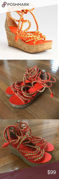 Tory Burch Petra rope wedges orange 9.5M new Tory Burch Petra rope wedges orange 9.5M new no box Tory Burch Shoes Wedges