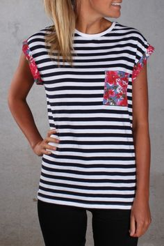All About Eve - Fusion Tee. I love stripes and florals together