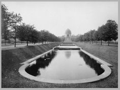 "The McKinley National Memorial with the Long Water in front.  The ""lagoon"" as it was called was removed in the 1950s."