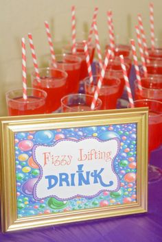Fizzy lifting drinks at a Willy Wonka birthday party! See more party ideas at… Candy Theme, Candy Party, Fruit Party, Party Drinks, Willy Wonka Halloween, 3rd Birthday Parties, Birthday Ideas, 4th Birthday, Fruit Birthday