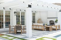 A reader has a new back deck, but needs help figuring out the perfect patio furniture layout. Here are my ideas for her awesome outdoor space! Outdoor Lounge, Outdoor Rooms, Outdoor Decor, Outdoor Patios, Outdoor Kitchens, Outdoor Furniture, Kitchen Furniture, Deck Furniture Layout, Furniture Sets