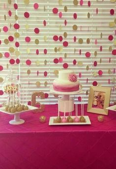 Fushia and gold birthday party dessert table and backdrop!  See more party planning ideas at CatchMyParty.com!