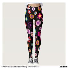 #Flowers #margaritas #colourful #legging, #daizy