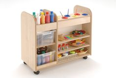 This Creation Station offers storage for paints, paper and all sorts of collage materials.