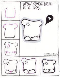 Draw Kawaii Toast step by step