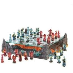 The dawn of chess, brought to life with blue and red winged beasts in a legendary battle as old as time itself. Battalions of finely detailed dragon warriors aim to conquer on a glass game board hover