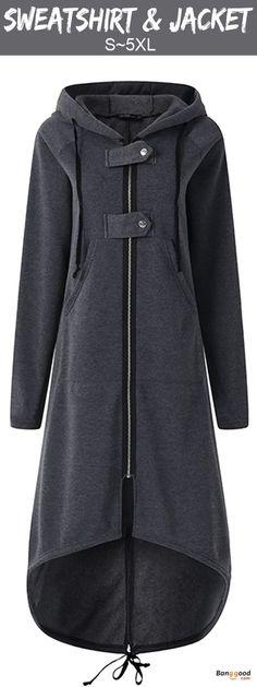 09c6c0f910b700 Zipper Irregular Hem Hoodie Fleece Lined Jacket Outwear Trench Coats