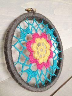 Floral Crochet Dreamcatcher Inspired Wall Art by Mylittleheartshop