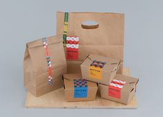 Takeaway packaging for Singapore based Italian restaurant Bottura by graphic design studio Foreign Policy