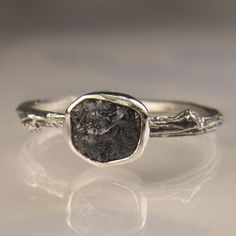 Rough Black Diamond Twig Ring in Sterling Silver, Engagement Ring. $179.00, via Etsy.