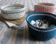 Find out how to make these mini crochet baskets at Design Sponge . Perfect storage for lots of little things.