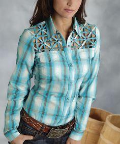 Blue & Turquoise Lattice Plaid Button-Up - Women & Plus | Daily deals for moms, babies and kids