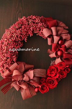 wreath of preserved flowers with berriers