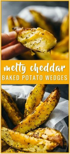Baked potato wedges with melted cheddar cheese recipe - These homemade baked potato wedges are seasoned with olive oil, basil, paprika, and cayenne before roasting in the oven. Each potato wedge is sprinkled with shredded cheddar cheese, which melts into Potato Wedges Baked, Homemade Potato Wedges, Seasoned Potato Wedges, Cheddar Cheese Recipes, Tapas, Cheese Potatoes, Baked Potato With Cheese, Potato Dishes, Potato Recipes