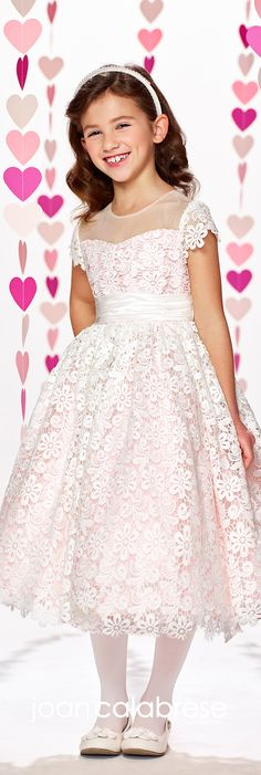 Joan Calabrese for Mon Cheri - Fall 2017 - Style No. 217389 - ivory / light pink lace short sleeve flower girl dress