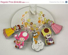 Super Mario inspired geeky wine glass charms set of 5 by TheWarpZoneStore, $12.74