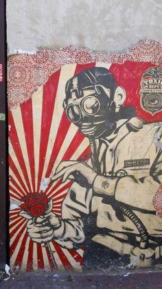 Obey / Shepard grafitti mascara anti panico flor  hombre