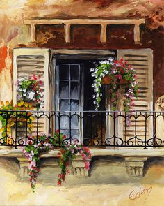 Balcony Of Ferrara Painting by Edit Voros Belle Photo, Painting Inspiration, All Art, Painting & Drawing, Flower Art, Illustration, Watercolor Paintings, Art Drawings, Art Photography