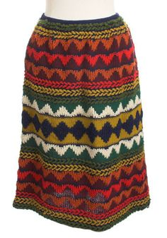 Vintage Ethnic Knit Skirt. With a unique pattern in gorgeous 1970's colors, this knit skirt will definitely put you ahead of the crowd.  #modcloth