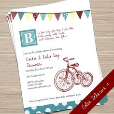 Vintage Tricycle Baby Shower Invite by WollflowerDesign on Etsy