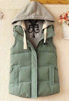 Warm Leisure Hooded Women's Vest Green - $39.99