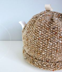 WANT!!!   Handknit Tea Pot Cosy / Cozy in Taupe Brown   by wheretheresawool, €30.00
