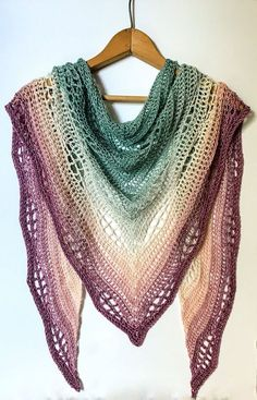 This gradient crochet shawl is the perfect accessory to dress up a staple outfit! Silk and merino wool offer a beautiful drape to the shawl. Crochet Wrap Pattern, Crochet Cape, Crochet Scarves, Crochet Shawl, Crochet Clothes, Crochet Stitches, Knit Crochet, Crochet Patterns, Finger Crochet