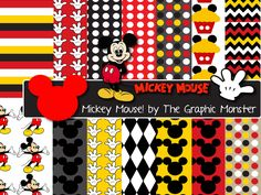 Mickey Mouse Scrapbook Paper, Digital Paper Mickey Mouse, Disney Scrapbook Paper, Mickey Mouse Digital Paper, Mickey Mouse Clip Art by TheGraphicMonster on Etsy https://www.etsy.com/listing/268534904/mickey-mouse-scrapbook-paper-digital