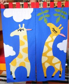 Blue Giraffe curtains / Four panels of yellow friendly