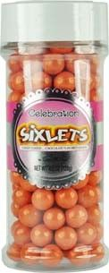 Shimmer Orange Sixlet Jars are vibrant! Use them to decorate cakes, cookies, cupcakes, and gingerbread structures, especially for Halloween.