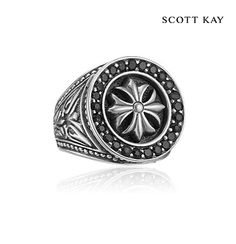Scott Kay's Mens Faith Collection - Mens Sterling Silver Engraved Round Cross Ring with Black Sapphire Frame (Product Style: GR2674SPABSM) #ScottKay #MensFashion